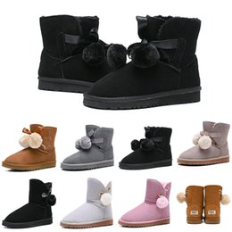 Round bow online shopping - HOT Designer Women Boots Australia Classic Bailey Hairball Bow Tie Snow Booties Ankle Knee Girls Ladies Fashion Winter Boot