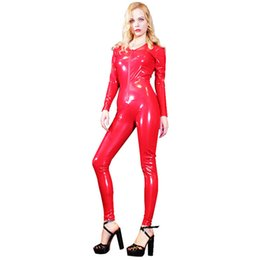 plus size body suits Australia - Sexy Glossy VNeck Full Body Suit Shiny Leotard Bodysuit PVC Latex Zipper Open Moto Biker Club Stage Wear Jumpsuit Plus Size F127