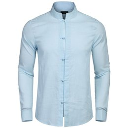 Shirts Stand Up Collars Australia - New Fashion Men Fashion Stand Up Collar Solid Frog Buttons Long Sleeve Shirt