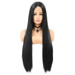 """extra long cosplay wig 2019 - 30"""" Extra Long Straight Synthetic Wig Cosplay Party Free Part Full Lace Front Wig Heat Resistant Fiber Hair Wig Bla"""