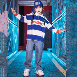 Wholesale children dancing suits resale online - Kids Hip Hop Dance Costume Suit Boys Girls Loose Hiphop Clothing Blue Striped Tops Performing Clothes Children Stage Wear