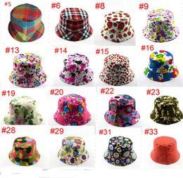 $enCountryForm.capitalKeyWord Australia - Kids Basin Fisherman Cap 52 Colors Bucket Hat Boys Girls Summer Caps Floral Cartoon Printed Hats Sports Outdoor Trravel Sun Visors B71602