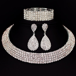 Bride Jewelry Set Crystal Australia - Hot Selling Bride Classic Rhinestone Crystal Choker Necklace Earrings and Bracelet Wedding Jewelry Sets Wedding Accessories X164