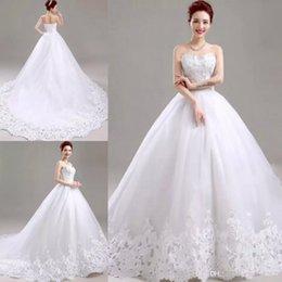 $enCountryForm.capitalKeyWord NZ - Plus Size Elegant Ball Gown Wedding Dresses Sweetheart Sleeveless Applique Lace Up Sweep Train Formal Bridal Gowns