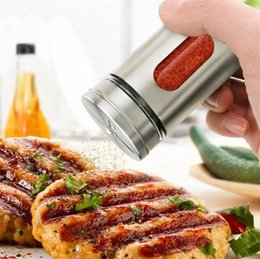 metal spice jars Australia - Spice Jar Stainless Steel With Glass Pepper Shaker Seasoning Pot Condiment Seal Storage Bottles Cooking Kitchen Tools