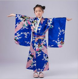 Wholesale baby kimonos resale online - Child Novelty Cosplay Floaral Dress Japanese Baby Girl Kimono Dress Children Vintage Yukata Kid Girl Dance Costumes