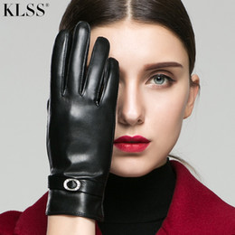 Discount elegant winter gloves - KLSS Brand Genuine Leather Women Gloves Winter Plus Velvet Fashion Elegant Rhinestones High Quality Goatskin Glove 272