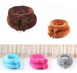 cute pet beds Australia - Lovely Bowknot Round Pet Dog Mat Cute Dog kennel Cat Nest Fashion New Style Puppy Teddy Bed