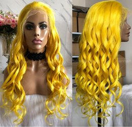 $enCountryForm.capitalKeyWord NZ - Yellow Full Lace Wig High Quality Peruvian Hair Virgin Human Hair Color Lace Wigs Celebrity Wig Loose Wave Front Lace Wigs Free Shipping