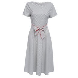 df9ee6941fe 2019 Express Selling New Euro-American Retro Hepburn Fashion Point Received  Belt Tie and Big Dresses Spot