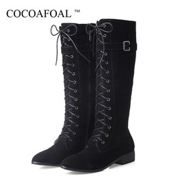 $enCountryForm.capitalKeyWord Australia - COCOAFOAL Sexy Women's Knee High Boots Winter Woman High Heel Shoes Plus Size 33 43 Lace Up Boots Fashion Knee 2018