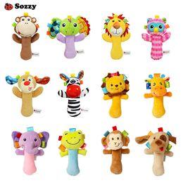 Stick bell online shopping - 12 Styles Sozzy Lovely Plush Stuffed Animal Baby Rattle Squeaky Sticks Toys Hand Bells for Children Newborn Gift