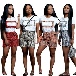 $enCountryForm.capitalKeyWord Australia - Newest Serpentine Skin Printing Short Sets Two Pieces Short Sleeve O Neck T Shirt and Shorts Casual Nightclub Outfits Summer 4 Color 2019