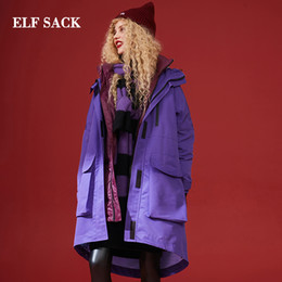 Sack coat online shopping - ELF SACK Fashion New Oversized Down Jacket Woman Full Casual White Duck Down Coats Women Solid For Female Winter Wearing Jackets