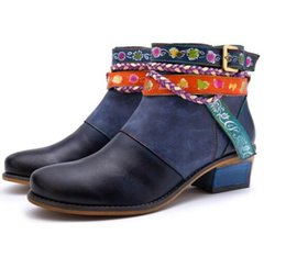 western cowboy charms Australia - Women's shoes fashion handmade leather women's boots denim super comfortable cowboy boots designer women's shoes