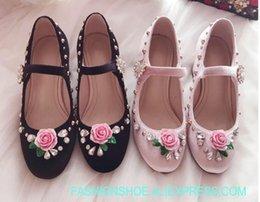 1678db07ac69 fashion Rose flower rhinestone velvet chunky heel buckle woman shoes Mary  Jane buckle high heels pink princess shoes sweet shoes