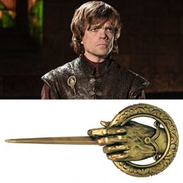 alloy king Australia - Game of Thrones Hand of the King Cosplay Badge Metal Alloy Brooch Pin wholesale 30pcs lot free shipping