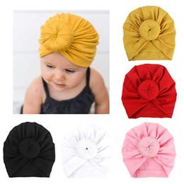 Wholesale Stocking Hats Australia - Cheap In Stock!Cute India Turban Bun Knot Hats Baby Infant Donut Hat Newborn Elastic Cotton Beanie Multicolor Infant Turban 19.5*15CM BK1