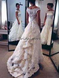 Buttoned Back Wedding Dresses Australia - beautiful full lace ivory bohemian wedding dress bateau neckline illusion button back sweep train bridal dresses 2018 elegant robe de mariée