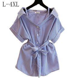 a57181883e9b Discount korean linen blouse shirts - Women s Blouse Cotton Tops Female  Clothes Striped Shirt Plus Size
