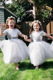 red shining short dress Australia - 2019 Lovely Shining Silver Sequins Flower Girls Dresses Short Sleeve Ankle Length First Commuinion Dresses Girls Pageant Gown Custom Made