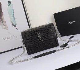 Luxury Chains Australia - Saint Crocodile Pattern Original Cowhide Silver chain Genuine Leather Designer Handbags high quality Luxury Women Shoulder Bags 1711