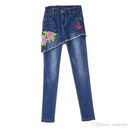 button high waist jeans Australia - 2019 Spring New Flower Embroidered Women Pantskirt Button Elastic High Waist Summer Denim Jeans Plus Size