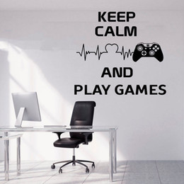 game television Canada - Keep Calm And Play Games Quotes Wall Sticker Game Controller Vinyl Home Decor Boys Room Playroom Decals Mural Transfer Film