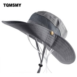 Sun Hat men Bucket Hats women Summer Fishin Cap Wide Brim UV Protection  Flap Hat Breathable mesh bone gorras Beach hat men C19011401 8231bd7fe22a