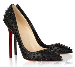 SequinS pumpS online shopping - New Red Bottom Pumps Pointed Toe High Stiletto Heels Shoes Luxury Rivets Spikes Red Sole Women s Wedding Shoes cm cm cm Logo With Box