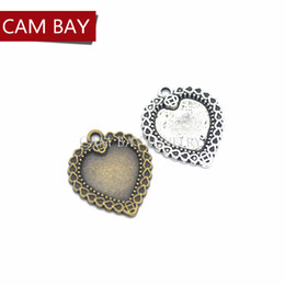 Silver Plated Frames Charms Wholesale Australia - 50pcs Hearts Photo Frame Charms Antique Metal Pendants for Necklace Jewelry Making DIY Accessories 25*21mm A43