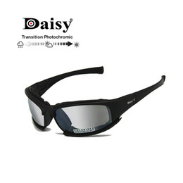 Polarized Plastic Australia - Transition Photochromic Polarized Daisy X7 Army Sunglasses Military Goggles 4 Lens Kit War Game Tactical Men's Glasses Sports J190610