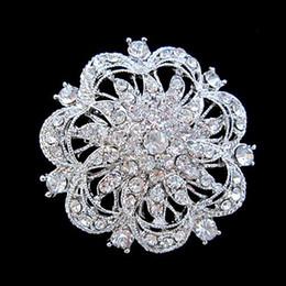 $enCountryForm.capitalKeyWord Canada - Silver Color Large Rhinestone Crystal Rould Flower Brooch