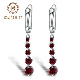 Genuine Gemstone Sterling Silver Australia - Gem's Ballet 2.67ct Natural Red Garnet Gemstone Drop Earrings Genuine Pure 925 Sterling Silver Earrings Fine Jewelry For Women Y19052401