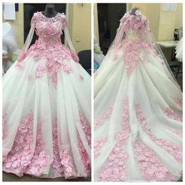 Wedding Dresses Juniors Australia - 2019 Jewel Long Sleeves Custom Wedding Dresses With Pink 3D-Floral Appliques Junior Bridal Gowns Custom Long Vestidos De Soiree
