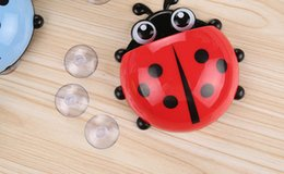 plastic tooth holders NZ - 1PC Ladybug toothbrush holder Toiletries Toothpaste Holder Bathroom Sets Suction Hooks Tooth Brush Container Ladybird OK 0383