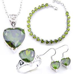 $enCountryForm.capitalKeyWord Australia - Luckyshine Newest Pendants Earrings Rings Bracelet Sets Bride Wedding Sets Heart Green Zircon 925 Silve Jewelry Sets