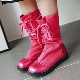 $enCountryForm.capitalKeyWord Australia - Women Flat Heels Shoes 2019 American Mid-boots Winter Boots Female Pointed Toe Flock Boots 7.22