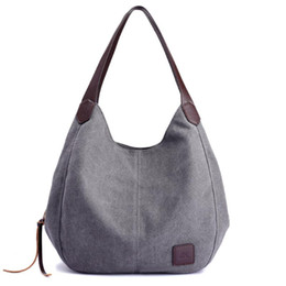 ladies handbags multi pockets Australia - 2020 Women's Canvas Handbags High Quality Female Hobos Single Shoulder Bags Vintage Solid Multi-pocket Ladies Totes bags