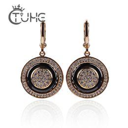 $enCountryForm.capitalKeyWord UK - 585 Rose Gold Round Black Earrings Micro Wax Inlay Natural Zircon Black Ceramic Women Wedding Stud Earring Jewelry 2018 New Hot