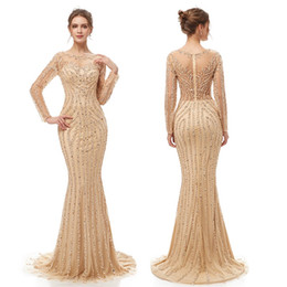 Sparkly bodice party dreSS online shopping - 2019 Luxury Mermaid Sequins Sexy Sheath Dress Sparkly Prom Party Dresses Dubai Show Long Sleeves Sheer Bodice Evening Gown