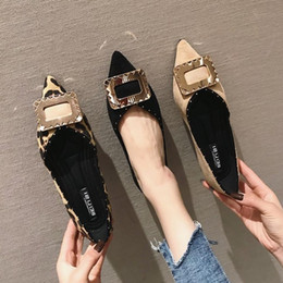 pointed leopard flat NZ - Current2019 Single Woman Fund Flat Sharp Soft Bottom Leopard Print Square Buckle One Pedal Fairy Tender Shoe