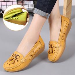 rubber nursing shoes 2019 - Women Shoes Flats Genuine Leather Slip On Shoes For Women Slipony Loafers Nurse Ballerina Tassel Platform Ladies Plus Si