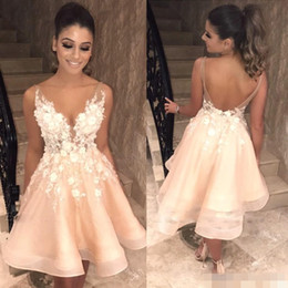 Wholesale Sexy Backless Champagne Party Dresses V Sheer Neck Straps 3D Floral Applique Cocktail Eevning Dress Homecoming Formal Wear Custom Made