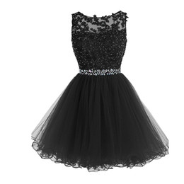 $enCountryForm.capitalKeyWord UK - Sweet 16 Short Prom Dresses Lace Appliques with Crystal Beads Puffy Tulle Cocktail Party Dresses Little Black Graduation Homecoming Gowns