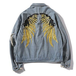 60fe68eacce 2 color Spring Hip Hop Jeans Coats Men Gold Wing Embroidery Jacket Denim  Ripped Hole Denim Jackets Streetwear