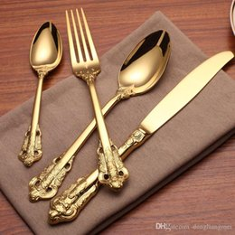 gold plate kits Australia - cariel Vintage Western Gold Plated Dinnerware Dinner Fork Knife Set Golden Cutlery Set Stainless Steel 4 Pcs Engraving Tableware wn584 20set