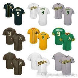 salute service jerseys NZ - Mens Women Youth Athletics Jerseys 9 Jackson Blank Jersey Baseball Jersey White Gray Gold Green Salute to Service Players Weekend like