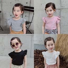 $enCountryForm.capitalKeyWord Australia - 2019 Ins Girls Basic Fly Sleeve Top Cotton Tishirt for Kids Toddler Lovely Fashion Clothing Causal Wear Outfit