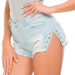 1677c89449 Women Summer Light Blue Ripped Jeans Shorts Side Split Beach Pocket Denim  Shorts Punk Casual Boho Streetwear Mini Shorts Ladies